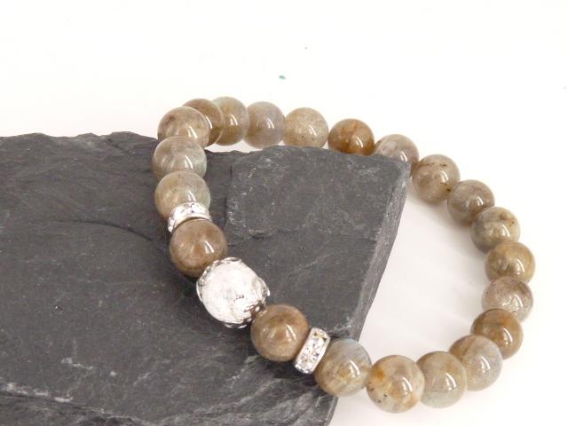 Bracelet boule 8mm Labradorite avec perle de quartz craquelé, strass et acier