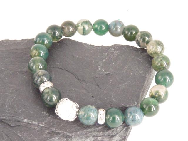 Bracelet boule 8mm Agate Mousse avec perle de quartz craquelé, strass et acier