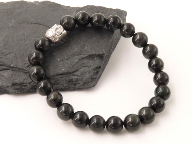 Bracelet boule 8mm Obsidienne oeil céleste avec tete de bouddha