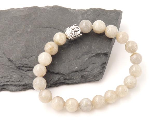 Bracelet boule 8mm Labradorite avec tete de bouddha