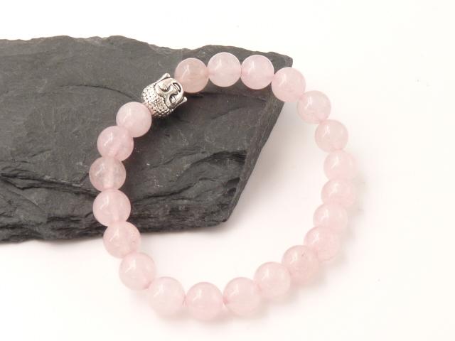 Bracelet boule 8mm Quartz rose avec tete de bouddha