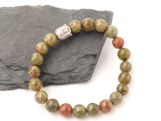 Bracelet boule 8mm Unakite avec tete de bouddha