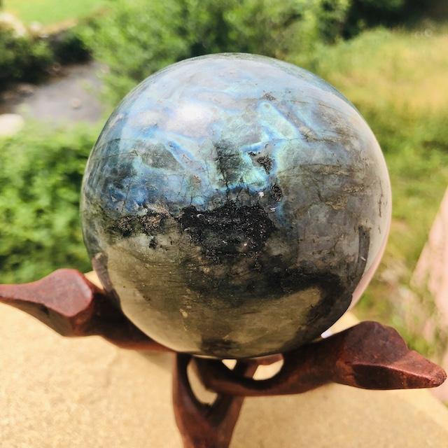 Sphère de labradorite (Support bois non-compris) N°4
