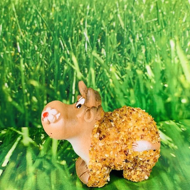 Vache décorative  en céramique et Ambre