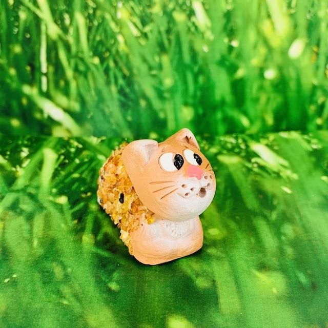 Chat décoratif en céramique et Ambre