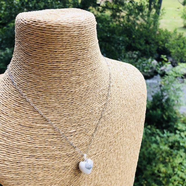 Pendentif Howlite coeur pierre naturelle