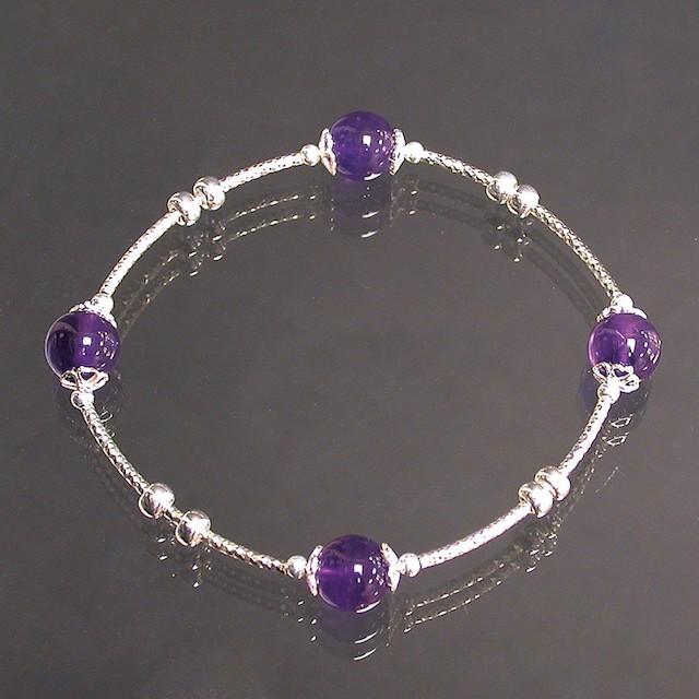 Bracelet perle 8 mm Améthyste et argent 925