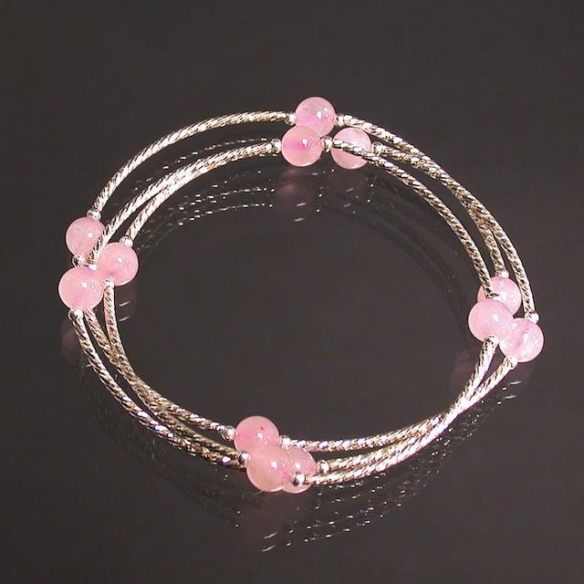 Bracelet 3 rangs Quartz Rose et argent 925