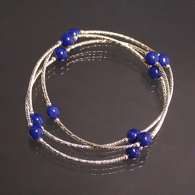 Bracelet 3 rangs Lapis Lazuli et argent 925