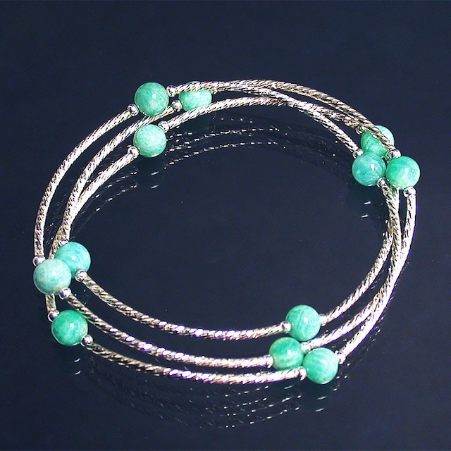 Bracelet 3 rangs Amazonite et argent 925
