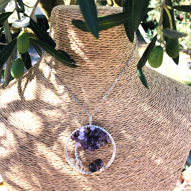 Pendentif rond arbre de vie Amethyste (Chaine non comprise !)