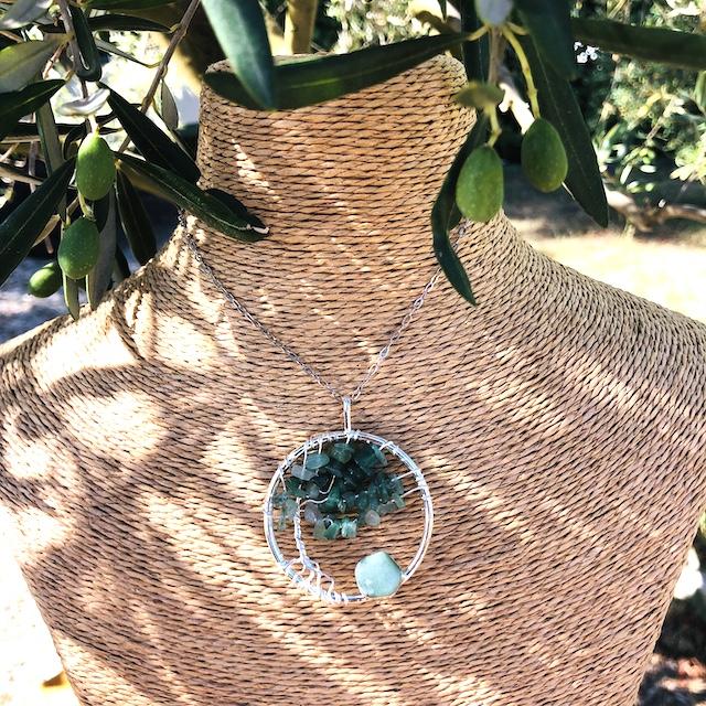 Pendentif rond argent arbre de vie Aventurine (Chaine non comprise !)