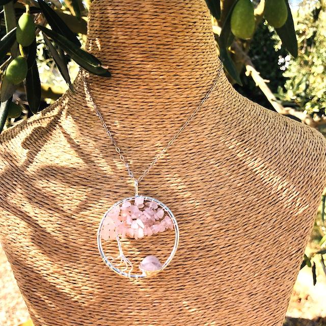 Pendentif rond arbre de vie Quartz rose (Chaine non comprise !)