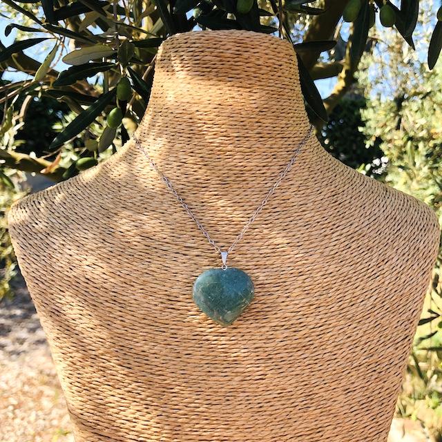 Pendentif Aventurine coeur GM pierre naturelle (Chaine non-comprise ! )