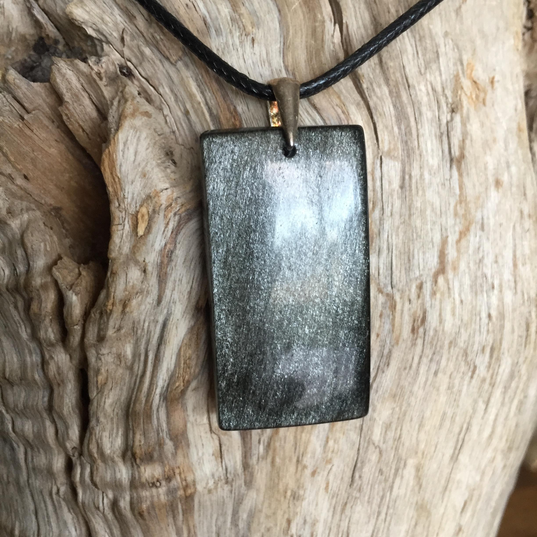 Pendentif Obsidienne Argenté