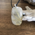 Pendentif quartz rutile cheveux dange, bélière argent 925, cordon coton ciré offert