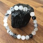 Bracelet boule quartz rutile tourmaline