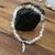 Bracelet boule Pierre de lune, plume en acier inoxydable
