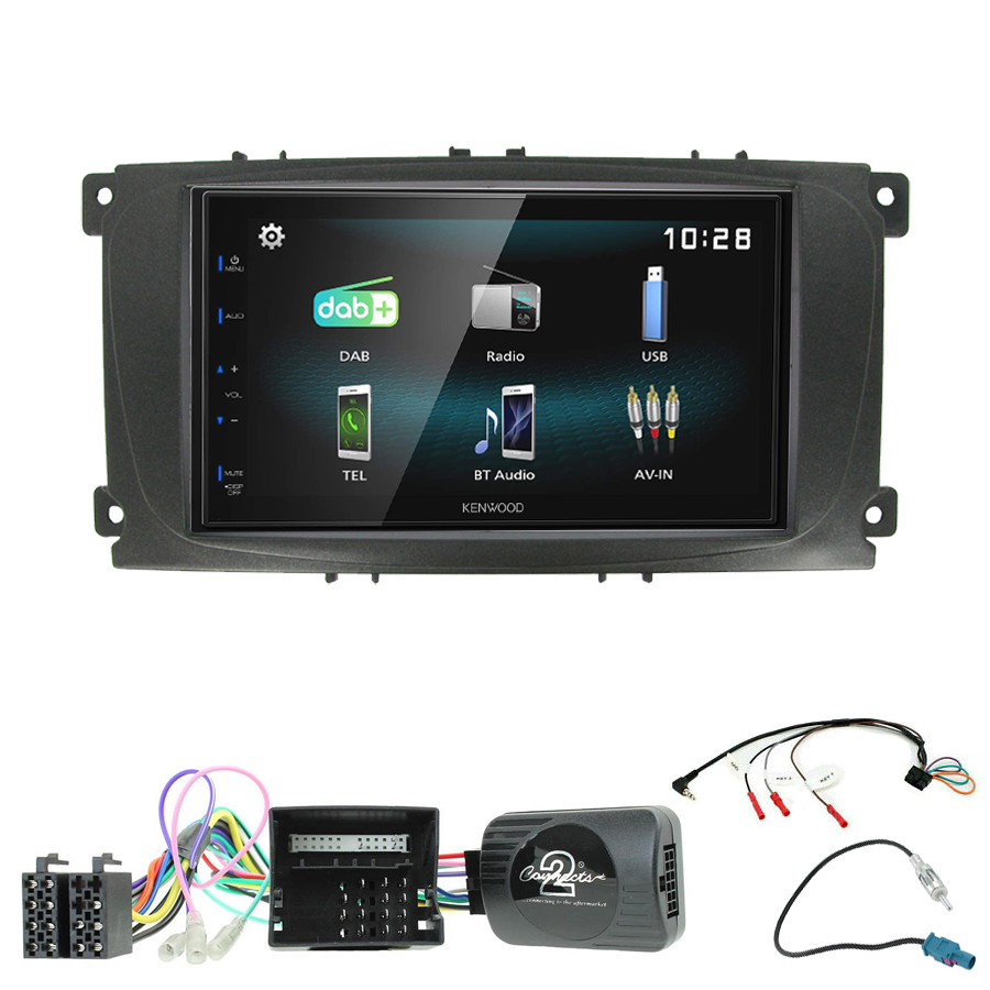 Kit d\'intégration Ford C-Max et Focus de 2007 à 2010 + Autoradio multimédia à écran tactile