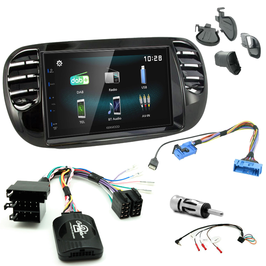 Kit d\'intégration Fiat 500 de 2007 à 2015 + Autoradio multimédia à écran tactile
