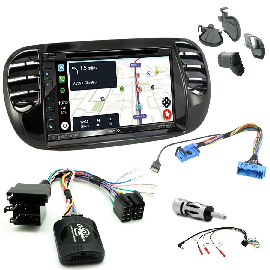 Kit d\'intégration Fiat 500 de 2007 à 2015 + Autoradio tactile Navigation GPS