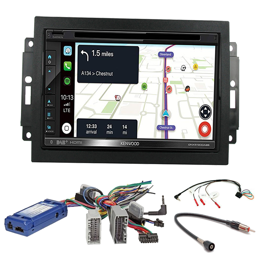Kit d\'intégration Jeep Grand Cherokee, Commander et Compass + Autoradio tactile Navigation GPS