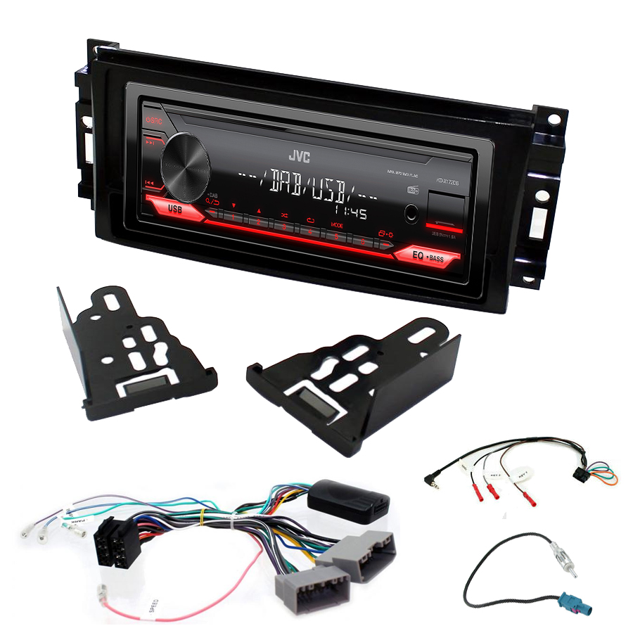 Kit d\'intégration Dodge Avenger, Charger, Caliber, Dakota, Durango, Journey, Nitro et Dodge RAM + Poste 1DIN USB/Bluetooth