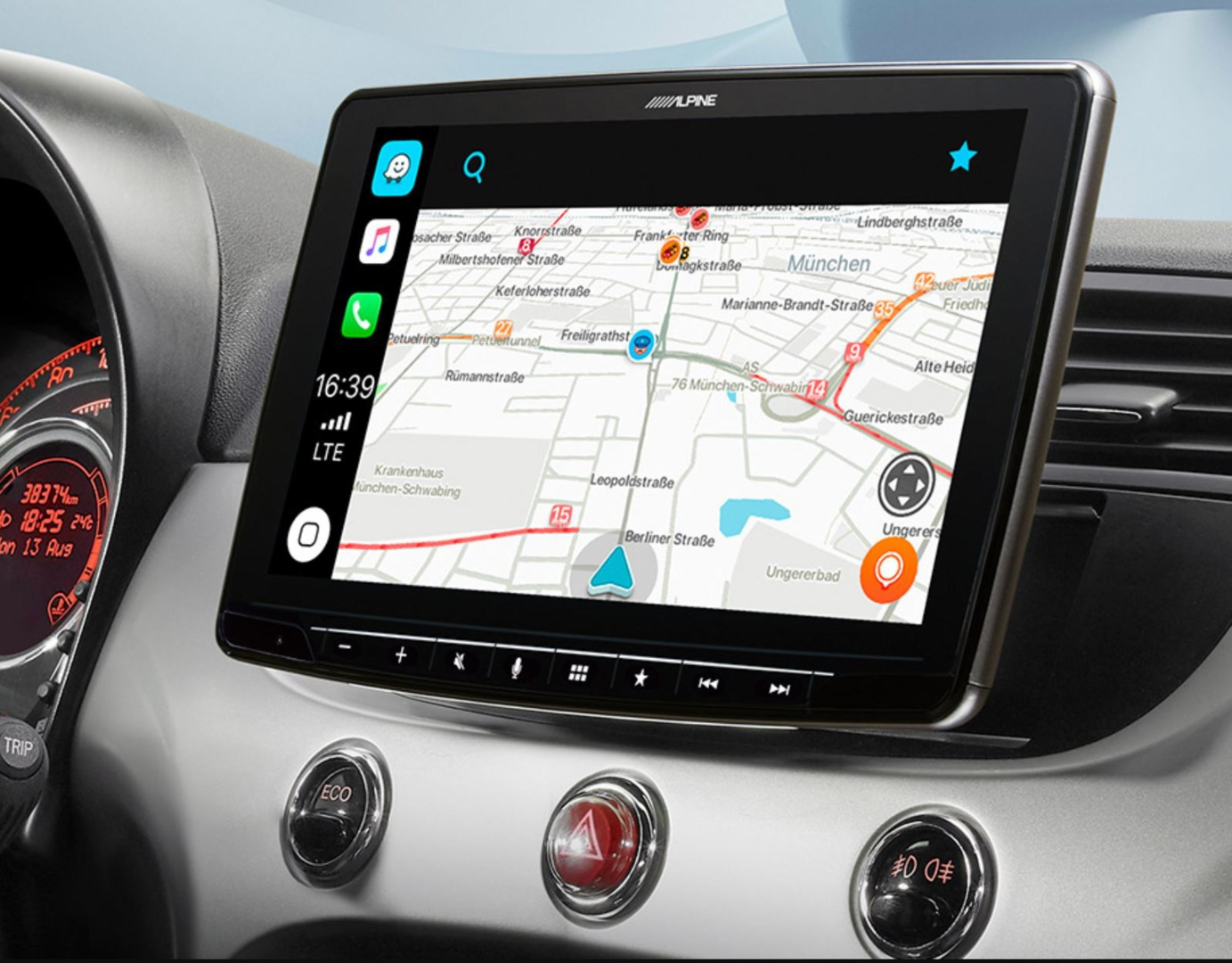 Alpine Style pour Fiat 500 de 2007 à 2015 - Waze, Apple Carplay et Android Auto - iLX-F903F315B