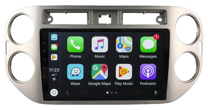 Ecran tactile QLED Android 10.0 + Apple Carplay sans fil Volkswagen Tiguan de 2007 à 2016