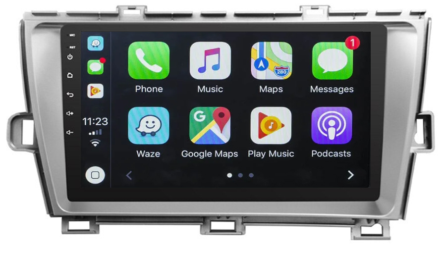 Ecran tactile QLED Android 10.0 + Apple Carplay sans fil Toyota Prius de 05/2009 à 2012