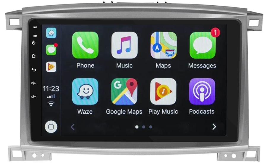 Ecran tactile QLED Android 10.0 + Apple Carplay sans fil Toyota Land Cruiser 100 de 2003 à 2007