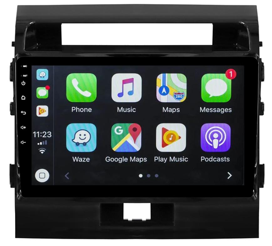 Ecran tactile QLED Android 10.0 + Apple Carplay sans fil Toyota Land Cruiser 200 de 2008 à 2015