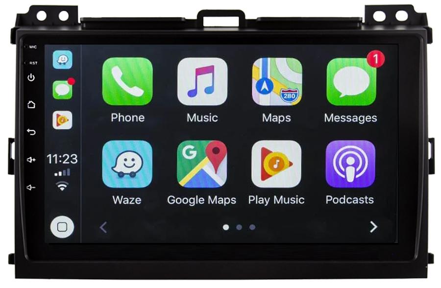 Ecran tactile QLED Android 10.0 + Apple Carplay sans fil Toyota Land Cruiser J120 de 2002 à 2009