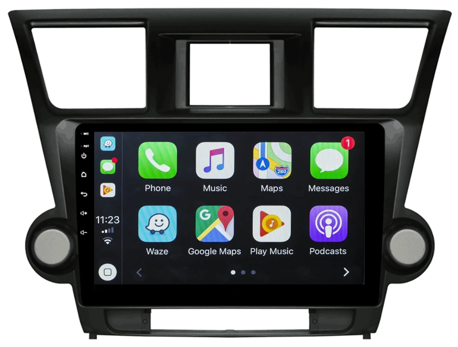 Ecran tactile Android 10.0 + Apple Carplay sans fil Toyota Highlander de 2008 à 2014