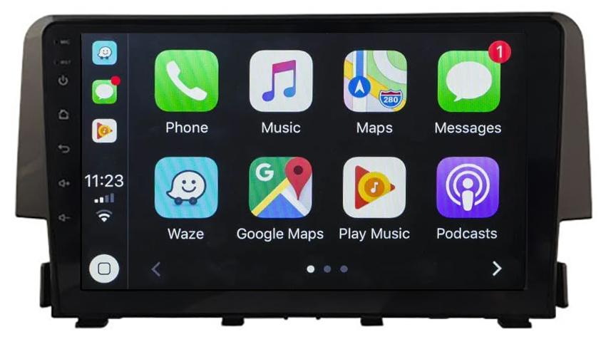 Ecran tactile Android 10.0 + Apple Carplay sans fil Honda Civic depuis 2016