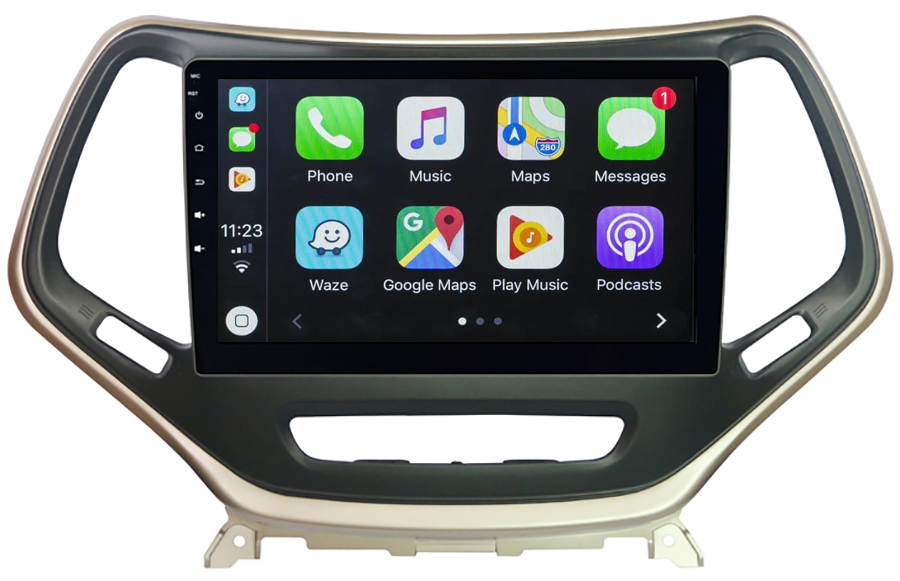 Ecran tactile QLED Android 10.0 + Apple Carplay sans fil Jeep Cherokee de 2014 à 2018