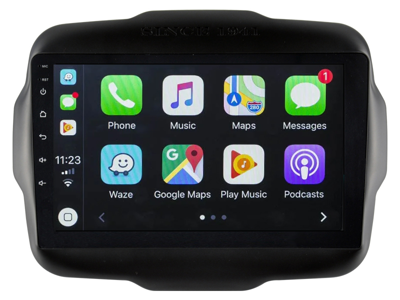 Ecran tactile QLED Android 10.0 + Apple Carplay sans fil Jeep Renegade de 2015 à 2019