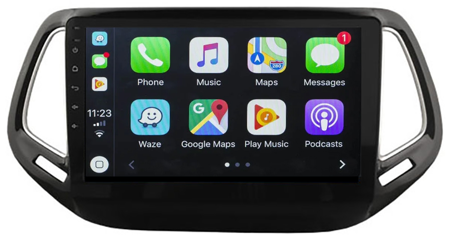 Ecran tactile QLED Android 10.0 + Apple Carplay sans fil Jeep Compass depuis 2017