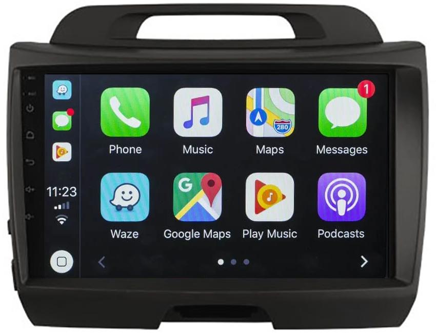 Ecran tactile QLED Android 10.0 + Apple Carplay sans fil Kia Sportage de 2010 à 2014