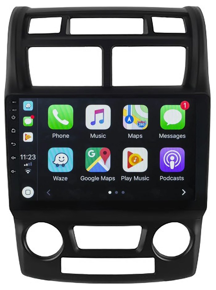 Ecran tactile QLED Android 10.0 + Apple Carplay sans fil Kia Sportage de 2005 à 2010
