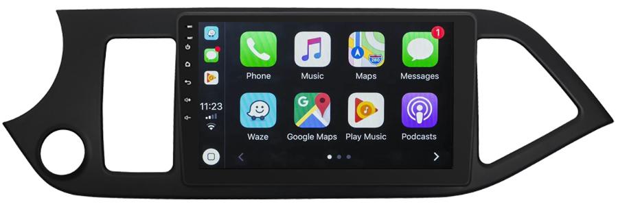 Ecran tactile QLED Android 10.0 + Apple Carplay sans fil Kia Picanto de 2011 à 2016