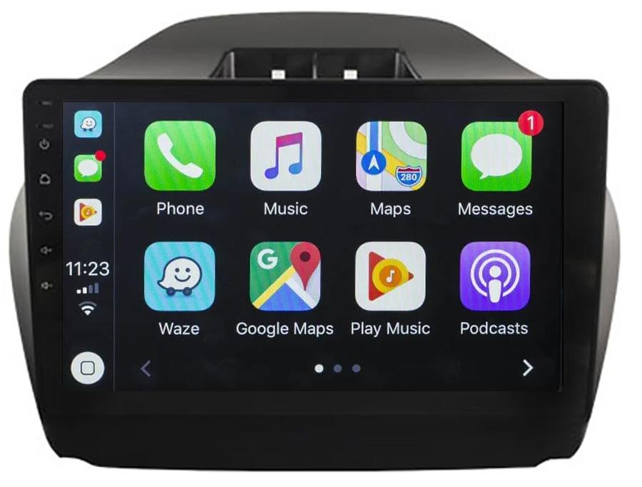 Ecran tactile QLED Android 10.0 + Apple Carplay sans fil Hyundai IX35 de 2010 à 2013