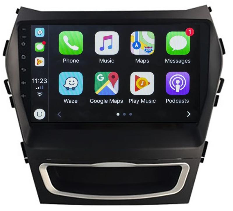 Ecran tactile QLED Android 10.0 + Apple Carplay sans fil Hyundai Santa Fe de 2013 à 2018