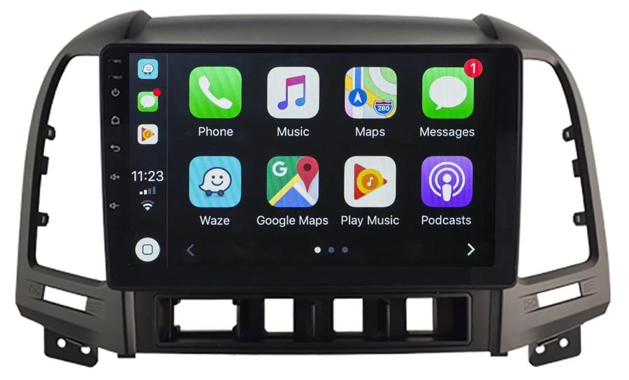 Ecran tactile QLED Android 10.0 + Apple Carplay sans fil Hyundai Santa Fe de 2006 à 2012
