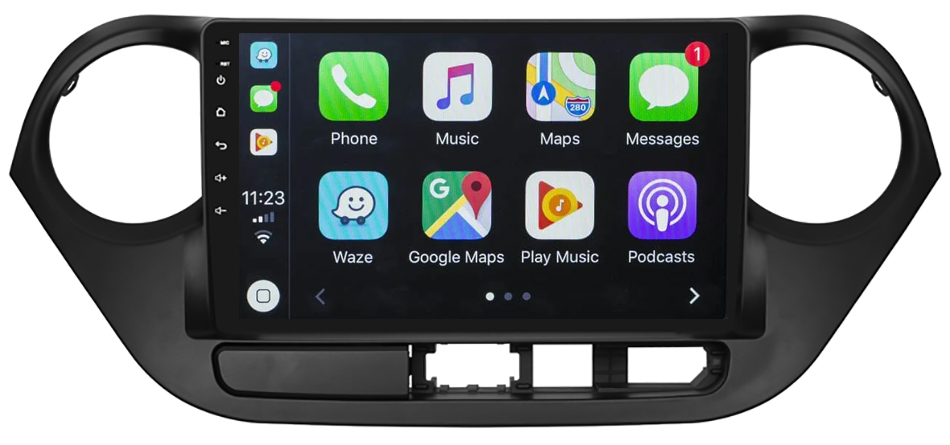 Ecran tactile QLED Android 10.0 + Apple Carplay sans fil Hyundai i10 de 2014 à 2019