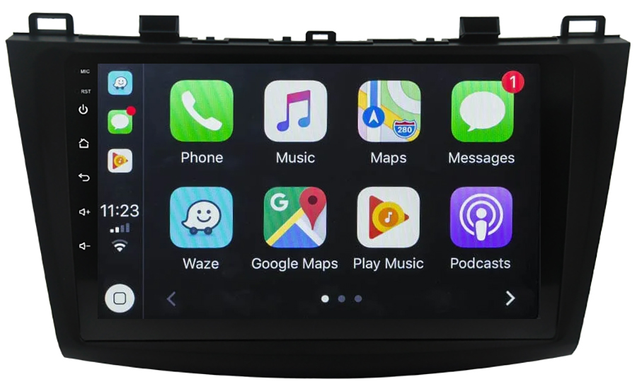 Ecran tactile QLED Android 10.0 + Apple Carplay sans fil Mazda 3 de 2009 à 10/2013