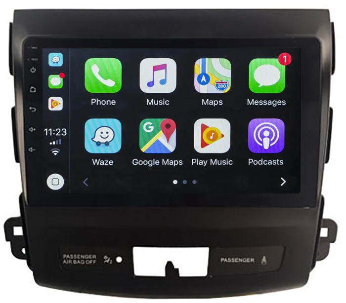 Ecran tactile QLED Android 10.0 + Apple Carplay sans fil Mitsubishi Outlander de 2006 à 2012