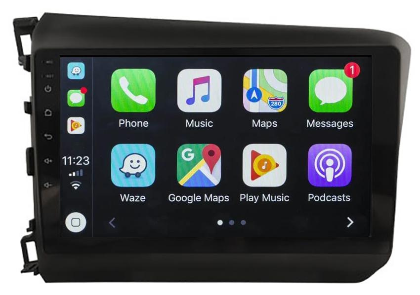 Ecran tactile Android 10.0 + Apple Carplay sans fil Honda Civic de 2012 à 2015