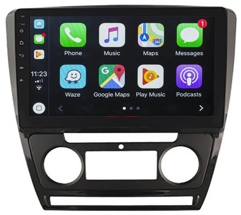 Ecran tactile QLED Android 10.0 + Apple Carplay sans fil Skoda Octavia de 2008 à 2013