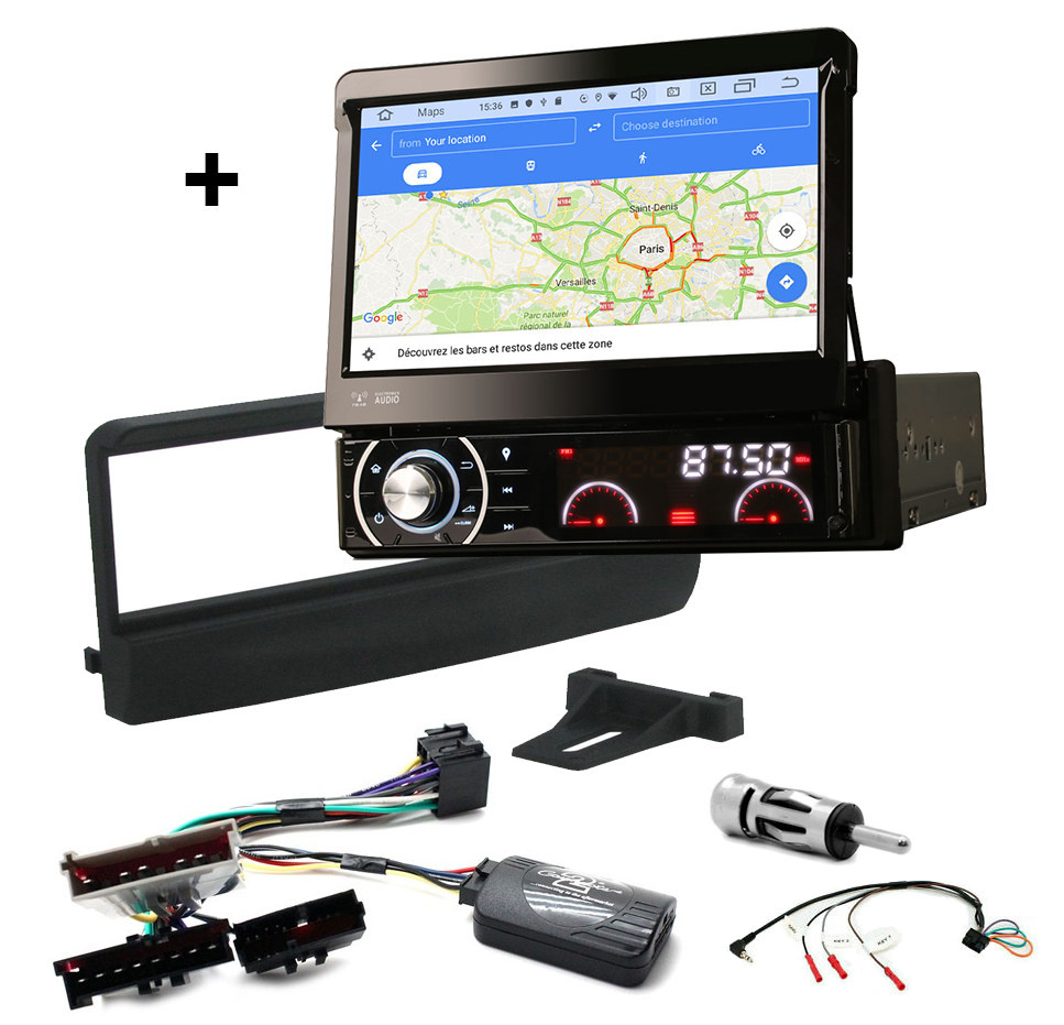 Kit d\'intégration Ford Escort, Scorpio et Transit + Poste 1DIN avec écran tactile